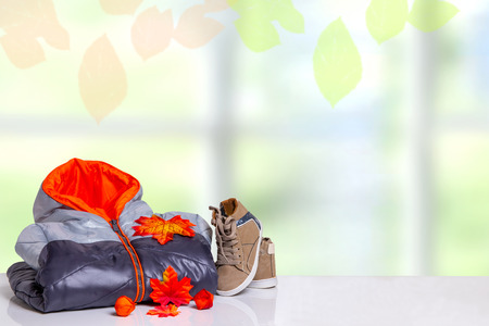 Autumn and winter children clothes. A black gray cozy warm down jacket and a pair shoes with autumn decorations over abstract bright autumn background. Space for your design. Stok Fotoğraf