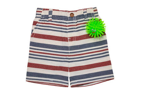 Short pants isolated. A short stylish striped summer jean pants isolated on a white background. Summer fashion for boys.