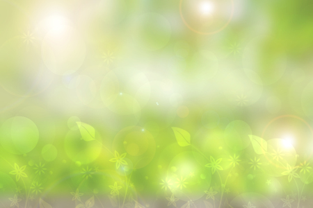 Abstract natural spring light green background texture with leaves and bokeh circles. Space. Stock Photo
