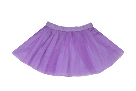 Girls clothes. Festive beautiful purple glistening little girl short summer skirt isolated on a white background. Ballerina kids clothes.