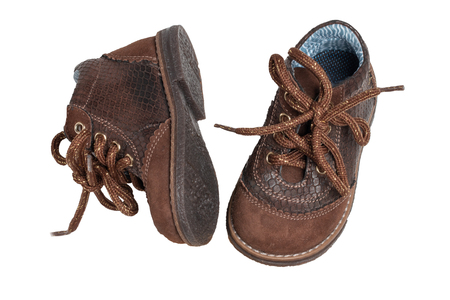 ec8705f334a4 Child shoe fashion. A pair of elegant brown leather shoes with shoelaces  for little boys