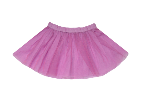 Girls clothes. Festive beautiful pink glistening little girl short summer skirt isolated on a white background. Ballerina kids clothes. Banco de Imagens