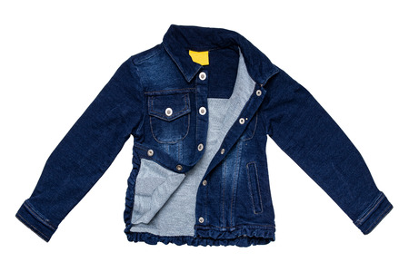 Kids jeans jacket isolated. A stylish fashionable denim dark blue jacket with a light blue lining for the little girl. Children jeans fashion.