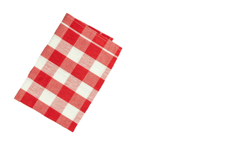 Tablecloth red white checkered with space for your text. Isolated on white background. Фото со стока