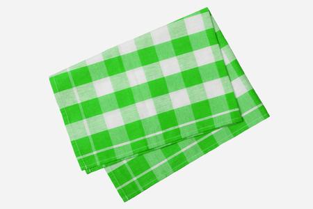 Servilleta a cuadros verde y blanca aislada sobre fondo blanco. Foto de archivo