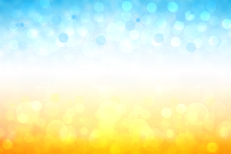 Abstrakter heller Farbverlaufs-Bewegungsfrühling oder Sommerlandschafts-Texturhintergrund mit natürlichen goldgelben Bokeh-Lichtern und blauem hellem sonnigem Himmel. Schöne Kulisse mit weißem Rahmen für Design.
