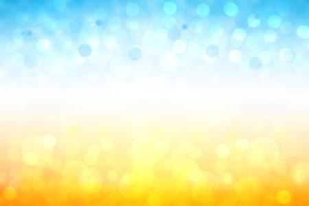 Fondo de textura de paisaje de primavera o verano de movimiento degradado brillante abstracto con luces de bokeh amarillo oro natural y cielo soleado azul brillante. Hermoso telón de fondo con marco blanco para el diseño.