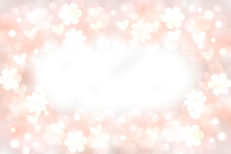 Abstract festive blur bright pink pastel background with a cloud frame and with bright soft color cherry blossoms and white pink hearts bokeh made for valentine or wedding card. Space for design. Card concept. Banco de Imagens