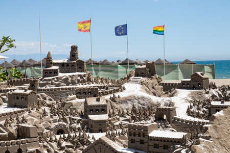 Sand castles on beach. A fascinating sand castle facility on mediterranean beach of Torremolinos, Andalusia , Spain. May 20, 2019.