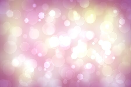 A festive abstract pink golden gradient background texture with glitter defocused sparkle bokeh circles. Card concept for Happy New Year, party invitation, valentine or other holidays.