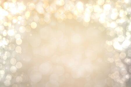 Fondo plateado marrón brillante festivo abstracto con círculos de bokeh blanco y marrón. Plantilla para tu diseño. Hermosa textura.