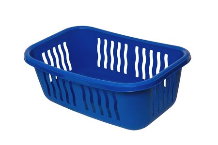 Empty basket isolated. A empty blue plastic laundry basket isolated on a white background. Household objects. Reklamní fotografie