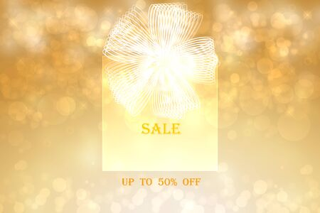 Christmas sale background. A golden gift box with a white ribbon and the text, discount up to 50 percent, on a golden abstract bokeh background. Beautiful illustration for xmas sale business.