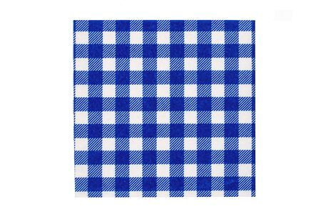 Closeup of a blue and white checkered kitchen cloth or napkin isolated on white background. Kitchen accessories. Macro.