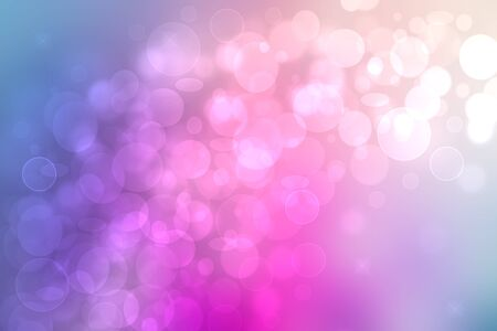 Abstract gradient of pink blue pastel light background texture with glowing circular bokeh lights and stars. Beautiful colorful spring or summer backdrop. Imagens
