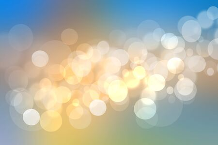 Abstract golden festive background texture with white and blue lightening bokeh circles. Beautiful texture.