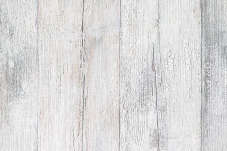 Gray white wooden texture. Closeup of light gray rustic wooden immitation background. Beautiful backdrop with artificial wood grain. Macro.