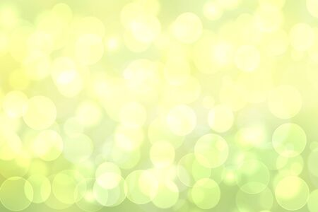 Abstract bright spring or summer landscape texture with natural green bokeh lights and yellow circular lights with sunshine. Autumn or summer background with copy space. Beautiful backdrop.