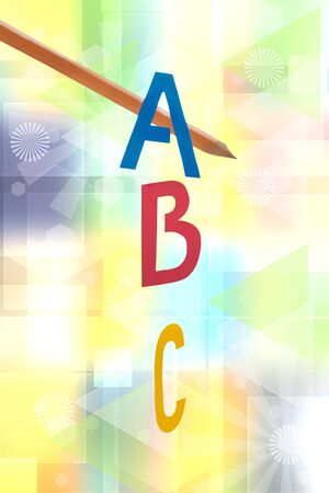 A B C letters background. Collage set of ABC and of a pencil with focus on letters against abstract pastel modern technology or science background texture. Back to school. Imagens