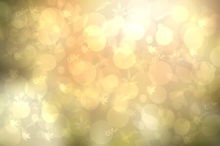 Sunny abstract bright yellow gold green bokeh autumn background texture with leaves. Space for your design. Beautiful backdropfor cards. Imagens