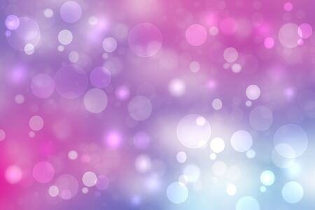 Abstract gradient purple pink blue background texture with blurred bokeh circles and lights. Space for design. Beautiful backdrop.
