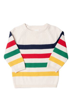 Autumn and winter children clothes. Close-up of colorful striped cozy warm sweater or pullover isolated on a white background. Kids autumn fashion.