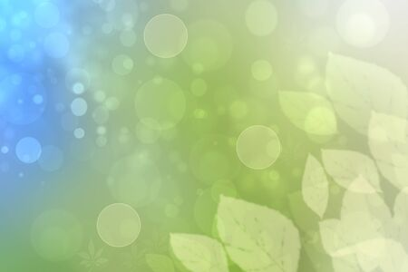 Abstract bright spring or summer landscape texture with natural light green bokeh lights and blue bright sunny sky with leaves. Autumn or summer background with copy space.