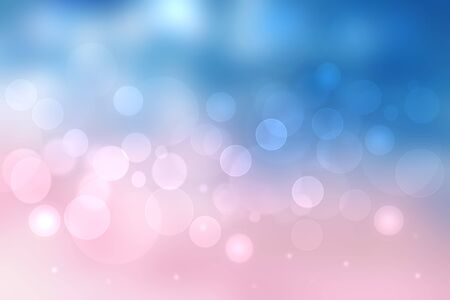Abstract blurred vivid spring summer light delicate pastel pink blue bokeh background texture with bright soft color circles and glowing stars. Card concept. Beautiful backdrop illustration. Фото со стока