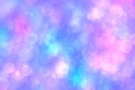Abstract gradient purple pink blue background texture with blurred bokeh circles and lights. Space for your design. Beautiful backdrop.