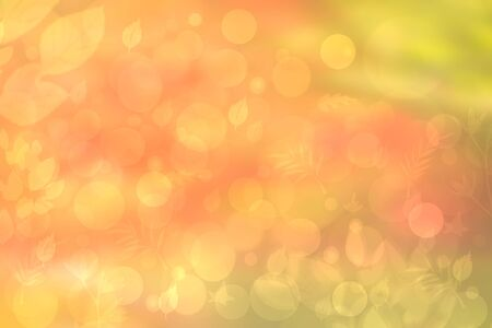 Abstract autumn gradient gold yellow pink green bright background texture with leaves and bokeh circles. Indian summer. Card design with space. Beautiful backdrop.