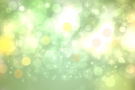 Abstract blurred festive light green white winter christmas or Happy New Year background texture with yellow bokeh circles and stars. Card concept. Standard-Bild - 130131524