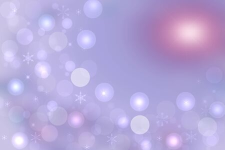 Christmas card template. Abstract festive light blue winter christmas or New Year background with a large pink glowing sun and many blue white bokeh lighted snowflakes and stars. 写真素材