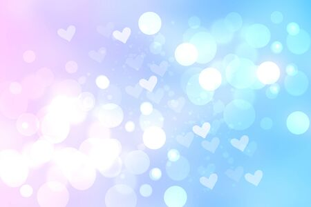 Abstract festive blur bright blue pink pastel background with white heart bokeh for wedding card or valentines day. Space. Card concept.