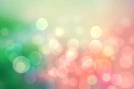 Abstract blurred fresh vivid spring summer light delicate pastel yellow pink orange green bokeh background texture with bright circular soft color lights. Beautiful backdrop illustration. Imagens