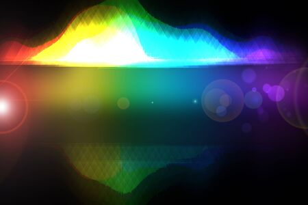 Abstract colorful modern art movement of waves with mirror effect on transparent border on black background. Template new year party, disco, dance, parties or other holiday and festivals. Copy space t 스톡 콘텐츠