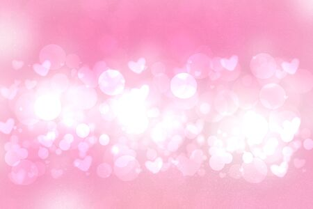 Happy Valentines or wedding day. Abstract delicate love romantic holiday pink gradient purple background with white bokeh circles and hearts. Template for cards with space for your design. Beautiful texture.