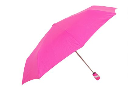Umbrella isolated. Close-up of beautiful open pink umbrella isolated on a white background. Fashionable female accessories for the rain season.