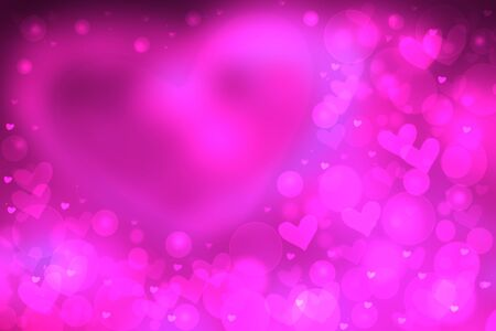 Happy Valentines or wedding day. Abstract love romantic holiday pink gradient purple background with a large bright heart and many little ones. Template for cards. Beautiful texture.