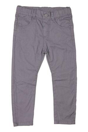 Jeans isoliert. Nahaufnahme einer trendigen, stylischen grauen Jeanshose oder Hose für Kinderjungen einzeln auf weißem Hintergrund. Jeans Sommer- und Herbstmode. Vorderansicht.