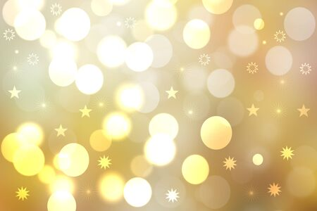 Christmas card template. Abstract festive golden yellow white winter xmas or New Year background texture with blurred bokeh lights and stars. Beautiful backdrop. Фото со стока