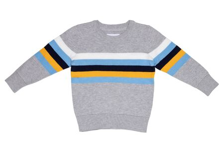 Autumn and winter children clothes. A light gray cozy warm sweater or pullover with colorful stripes isolated on a white background. Spring fashion for child boy.