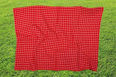 Picnic background. Red checkered picnic cloth on blurred sun-flooded lush grass with focus on napkkin. Beautiful backdrop for your product placement or montage.