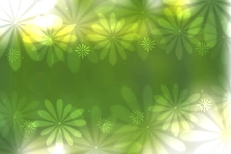 Abstract bright spring or summer landscape texture with natural green bokeh lights and flowers and bright sunshine. Spring or summer background with copy space. Beautiful backdrop.