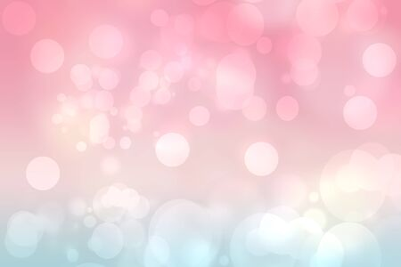 Abstract blurred vivid spring summer light delicate pastel pink blue bokeh background texture with bright soft color circles and bokeh lights. Card concept. Beautiful backdrop illustration.