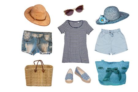 Collage of female summer beach clothes and accessories consist hats, shorts, beach shoes, bags, shirt and short jeans isolated on a white background. Ladies summer fashion set.