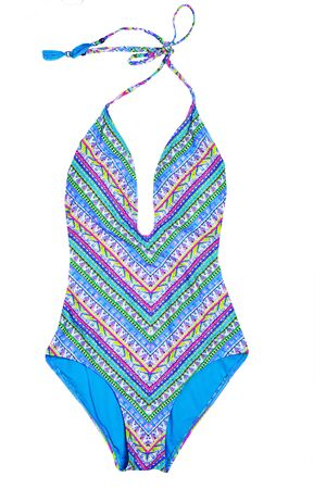Swimsuits isolated. Close-up of a elegant female multicolored one piece swimsuit isolated on a white background. Fashionable swimwear. Foto de archivo