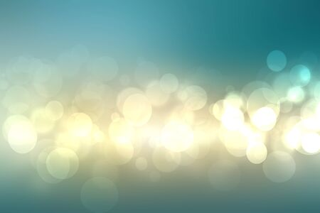 Abstract gradient light blue turquoise yellow shiny blurred background texture with circular bokeh lights. Beautiful backdrop. Space for design.