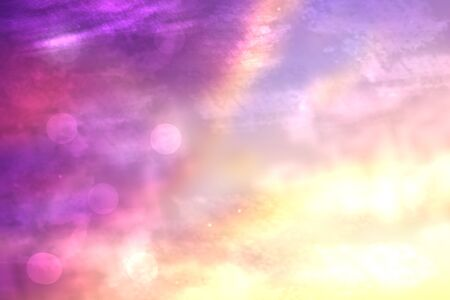 Abstract gradient purple pink yellow blue background texture with blurred bokeh circles and lights.  Beautiful colorful backdrop illustration. 스톡 콘텐츠
