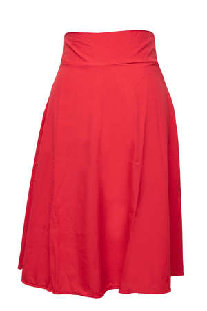 Woman clothes isolated. Closeup of elegant beautiful red summer skirt on a mannequin isolated on a white background. Womens red fashion. 版權商用圖片