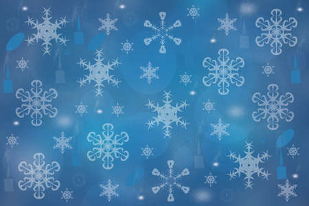 Abstract blurred festive light blue winter christmas or Happy New Year background texture with shiny blue and white bokeh lighted glittering snowflakes and stars. Space for your design. Card concept. 免版税图像